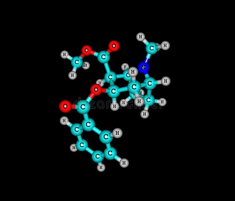 Molécule de cocaïne d'isolement sur le noir illustration de vecteur