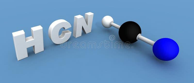 Molécule de cyanure d'hydrogène illustration de vecteur