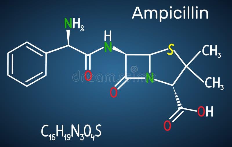 Molécule de drogue d'ampicilline C'est antibiotique de bêta-lactame Formule chimique structurelle sur le fond bleu-foncé illustration stock