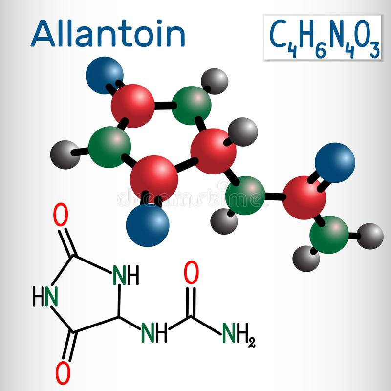 Molécule de glyoxyldiureide d'Allantoin, il est employé en cosmétiques S illustration stock