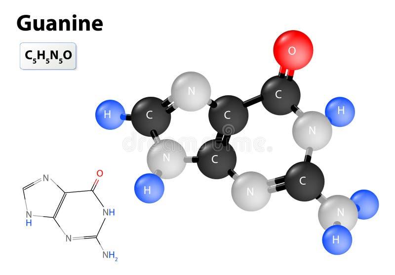 Molécule de guanine illustration libre de droits
