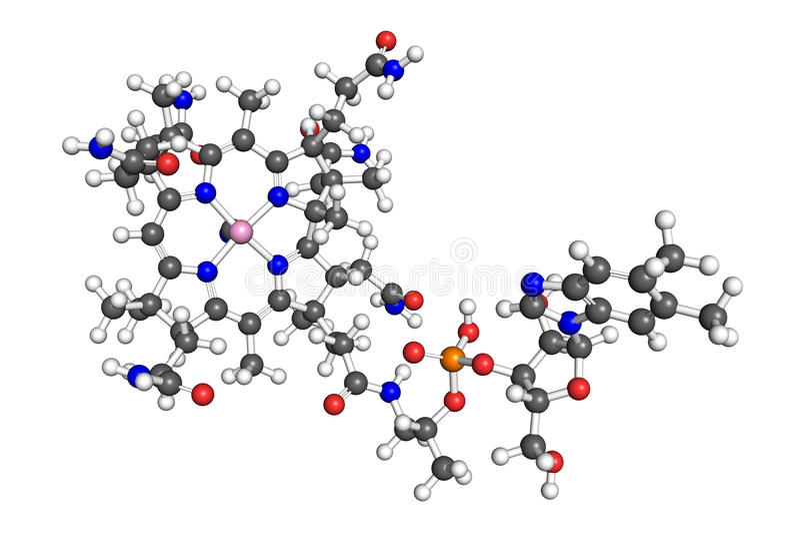Molécule de la vitamine B12 illustration de vecteur