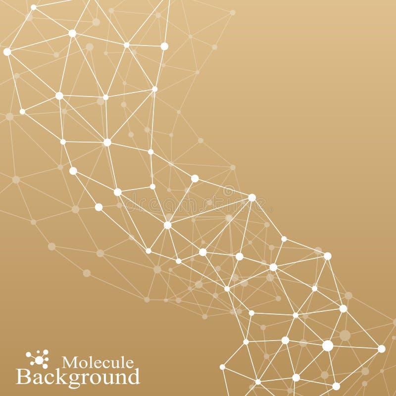Molécule graphique d'or et communication de fond ADN de structure, neurones, atome Lignes reliées avec des points médecine illustration libre de droits