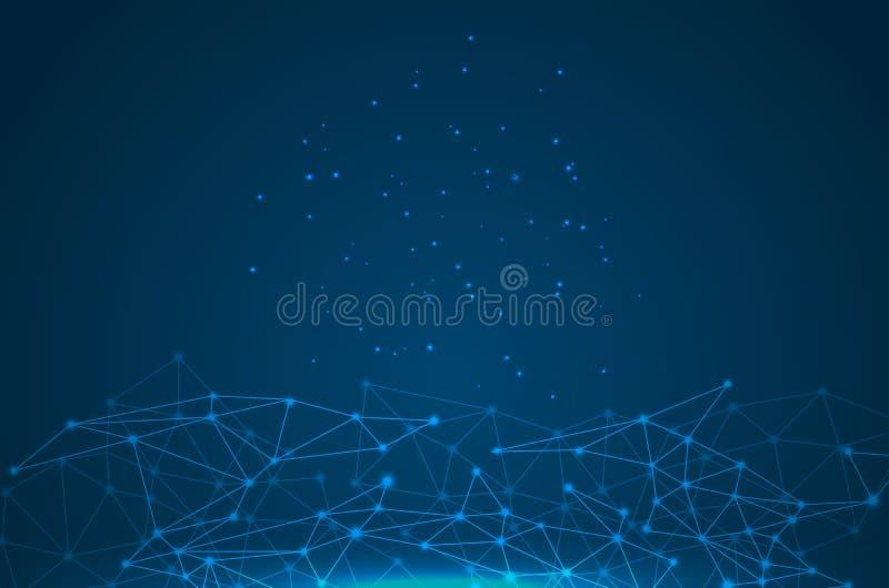 Molécule graphique géométrique et communication de fond illustration libre de droits