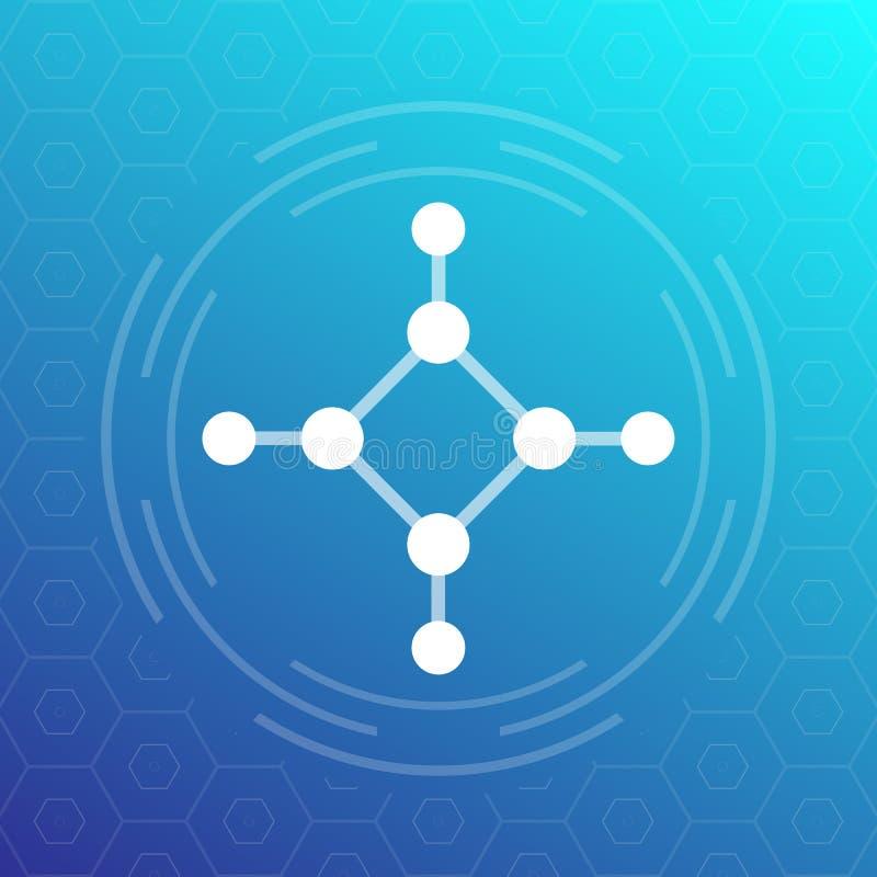 Molécule, icône de composé chimique, vecteur illustration de vecteur
