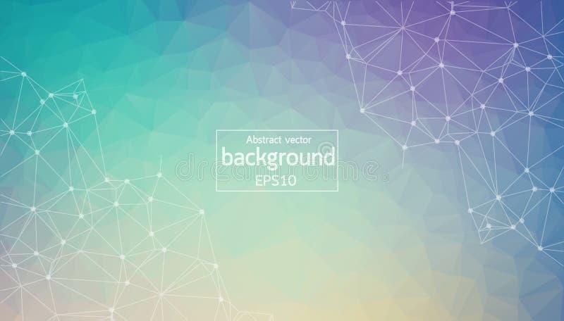 Molécule polygonale bleue et pourpre géométrique et communication de fond Lignes reliées avec des points Fond de minimalisme Conc illustration stock