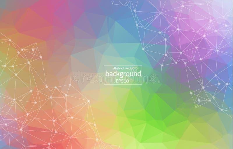 Molécule polygonale colorée géométrique et communication de fond Lignes reliées avec des points Fond de minimalisme Concept de t illustration de vecteur