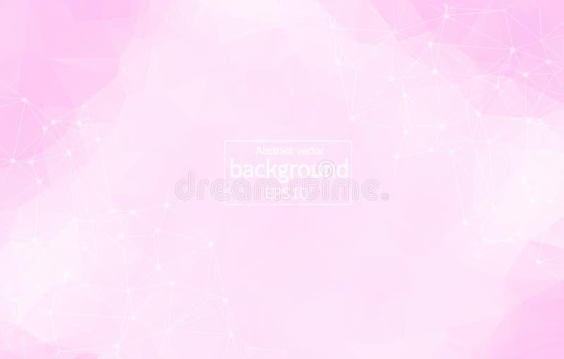 Molécule polygonale rose géométrique et communication de fond Lignes reliées avec des points Fond de minimalisme Concept du s illustration stock