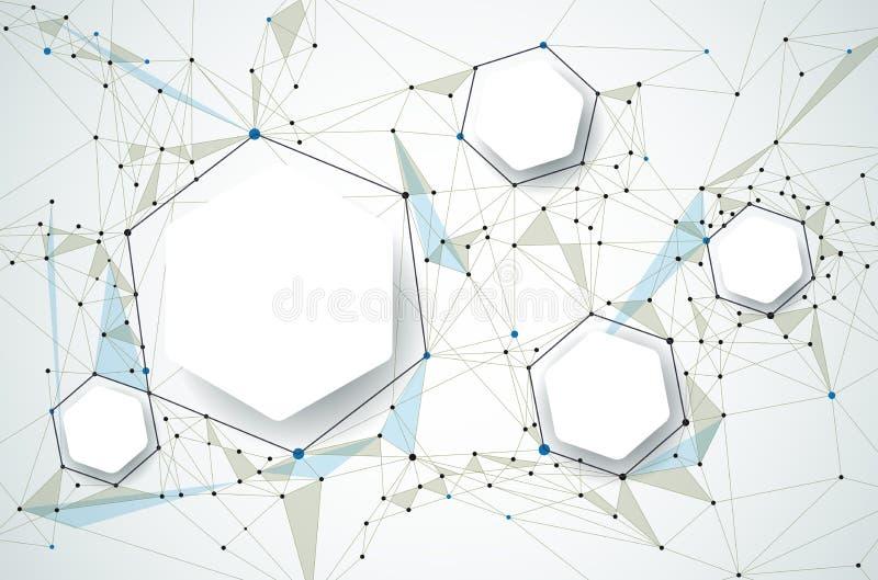 Molécules avec le papier 3D et polygonal abstraits sur le fond gris-clair de couleur illustration de vecteur