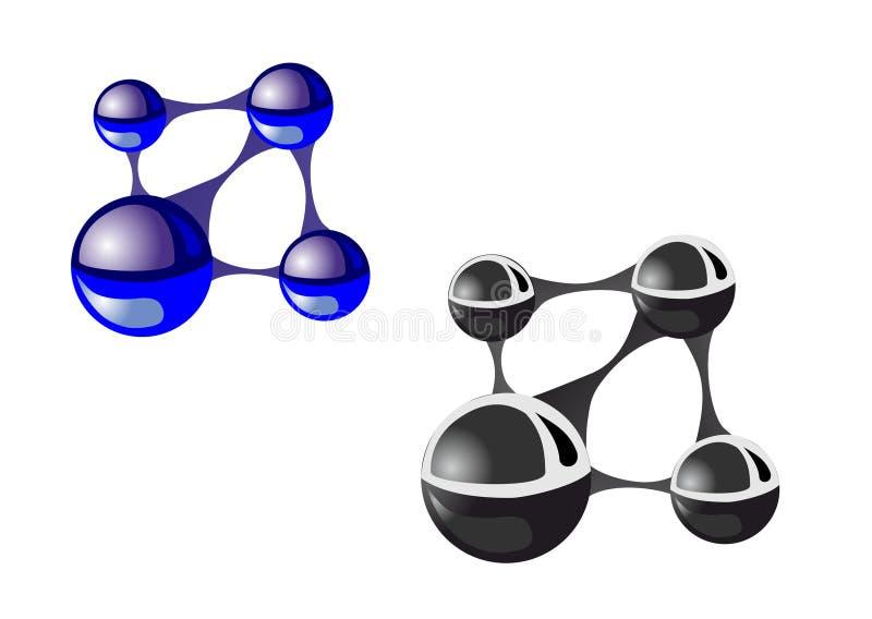 Molécules bleues et noires sur un fond blanc illustration de vecteur