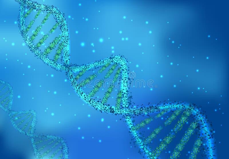 Molécules d'ADN sur les sciences sur le fond bleu illustration libre de droits