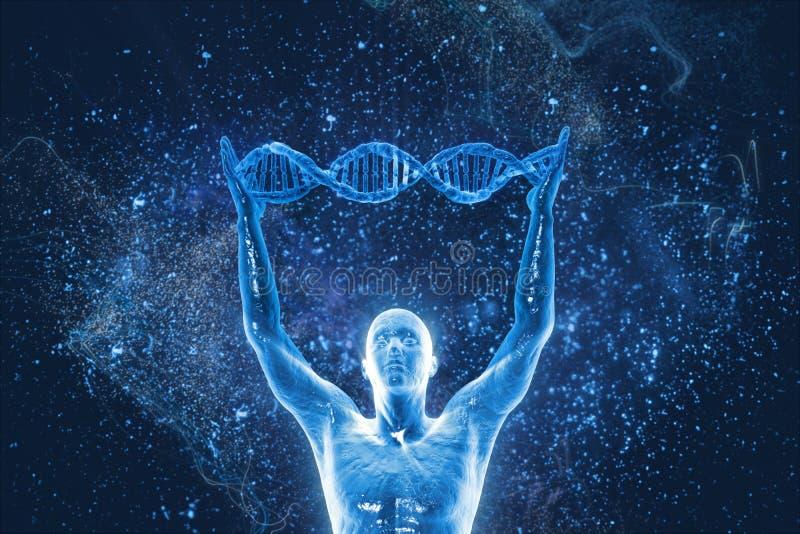 Molécules et hommes d'ADN illustration stock