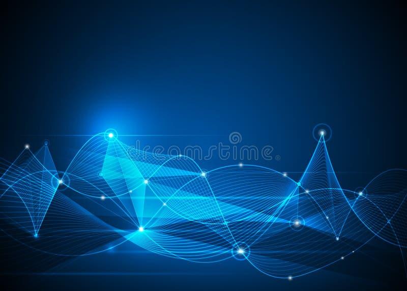 Molécules et Mesh Lines abstraits Futuriste, concept de technologie des communications illustration stock
