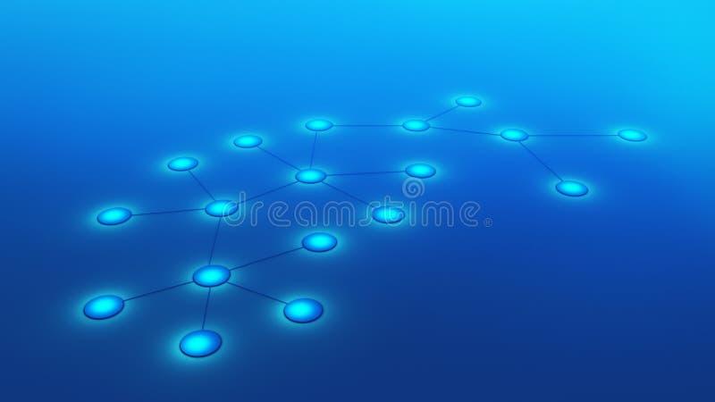 Molécules ou atome d'isolement sur le fond bleu Résumé illustration de vecteur