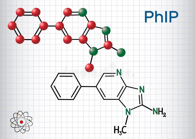 Mol?cula de PhIP 2 amino-1-methyl-6-phenylimidazo4,5-bpyridine Modelo estructural de la f?rmula qu?mica y de la mol?cula Hoja del ilustración del vector