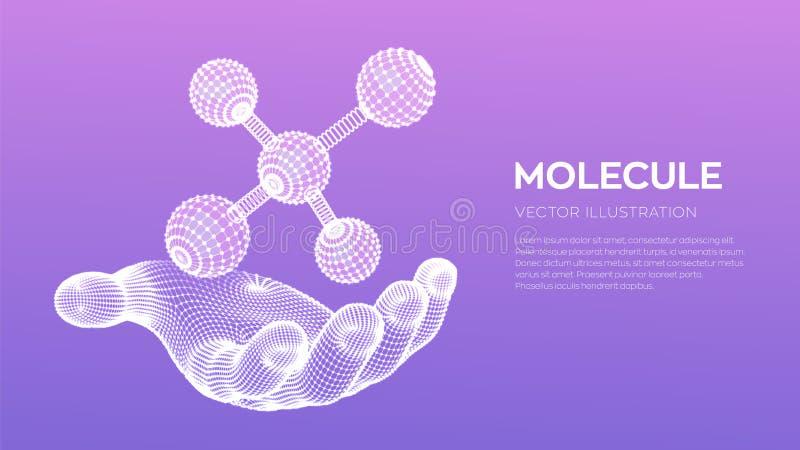 Mol?cula a disposici?n DNA, ?tomo, neuronas Mol?culas y f?rmulas qu?micas fondo cient?fico de la mol?cula 3D para la medicina, ci libre illustration