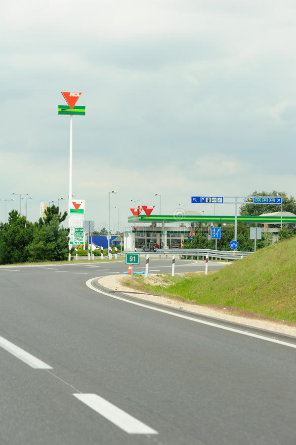 MOL Group petrol station on Hungarian highway royalty free stock photos