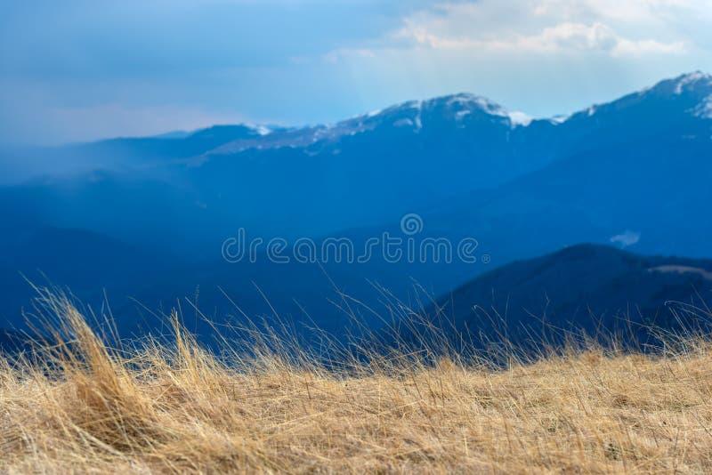 Mola adiantada nas montanhas, com os picos ainda cobertos com a neve Vista panorâmica de uma paisagem alpina natural em um dia en imagem de stock