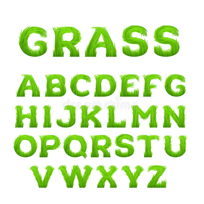 Mola, alfabeto do verão feito da grama Fonte adiantada da grama verde da mola ilustração stock