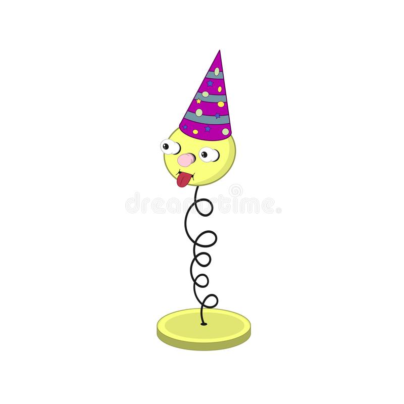 Mola amarela engraçada dos desenhos animados em um suporte - com olhos, boca e cabeça em um tampão festivo de Borgonha foto de stock