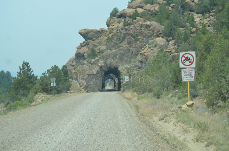 Mola atrasada em Colorado: Túneis de estrada de ferro da região central ao longo do Arkansas River imagens de stock royalty free