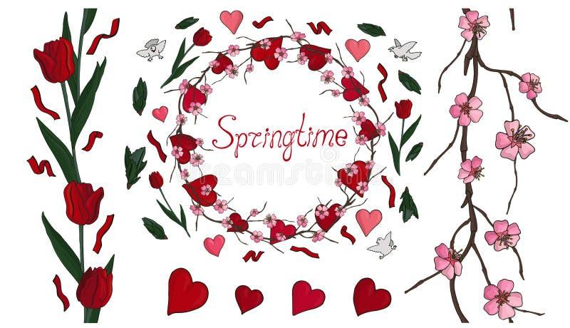 Mola bonita ajustada com flores e corações ilustração stock