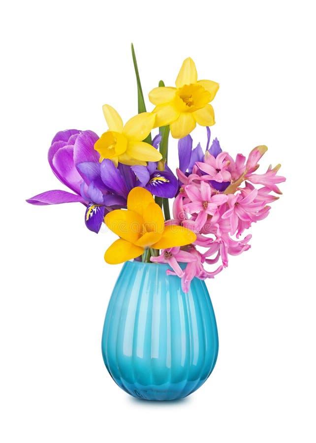 Flores coloridas da mola em um vaso fotografia de stock royalty free