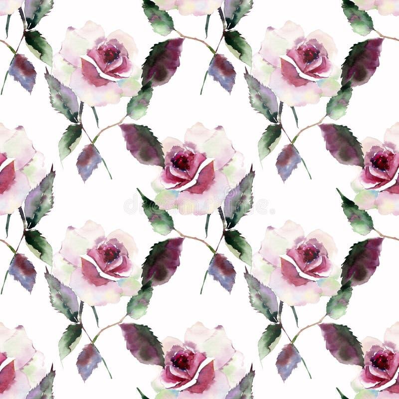 A mola cor-de-rosa vermelha roxa violeta colorida maravilhosa brilhante bonita erval aumentou com botões e as folhas do verde mod ilustração royalty free