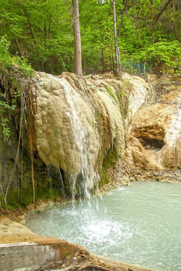 Mola da água térmica de Bagni san Filippo fotografia de stock