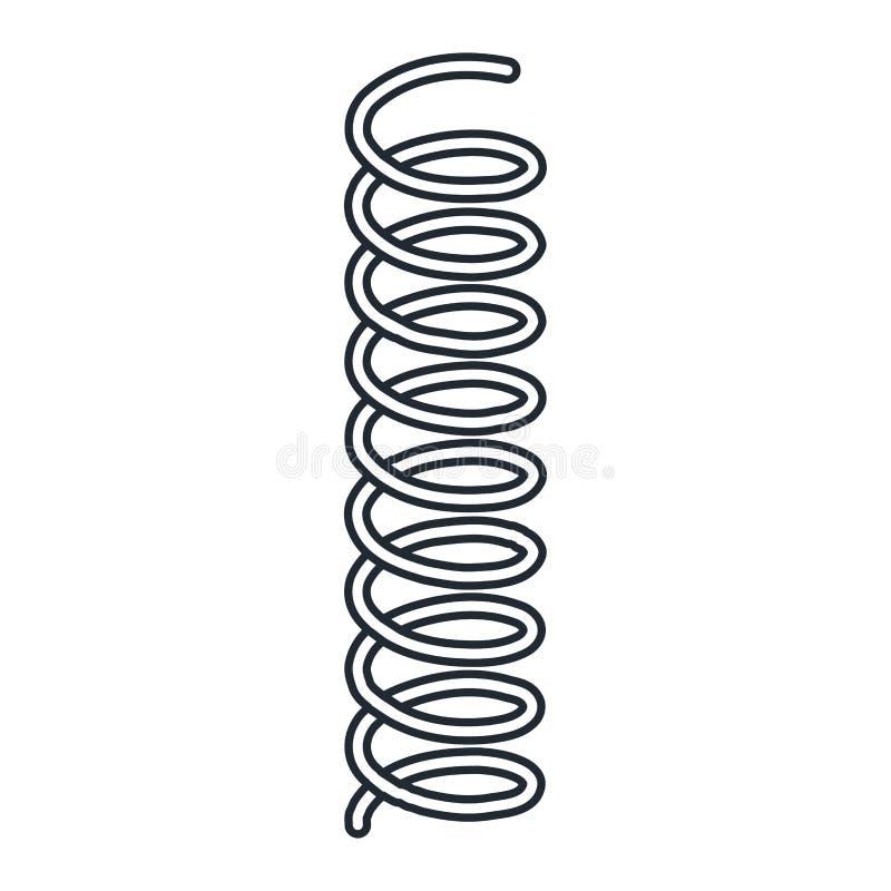 Mola de aço do metal da mola da mola de bobina no fundo branco ilustração do vetor