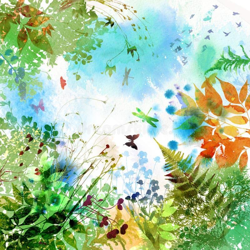A mola floral e o verão projetam, pintura da aguarela ilustração stock