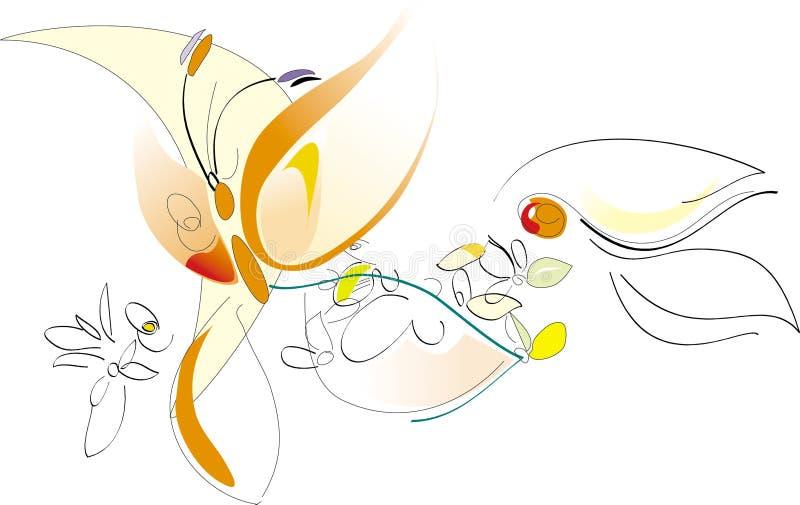 Mola - flores e borboleta - ilustração artística do vetor ilustração stock