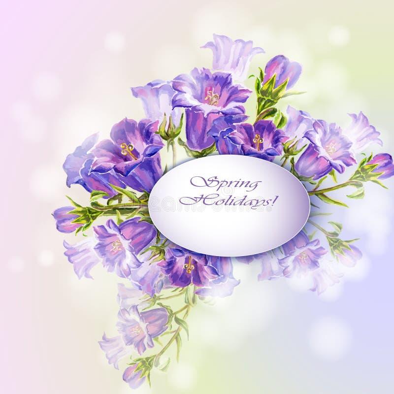 A mola floresce o cartão do molde do convite ilustração stock