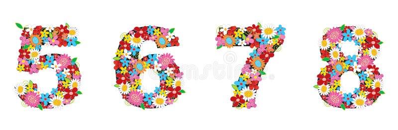A mola floresce os NÚMEROS 5678 ilustração stock