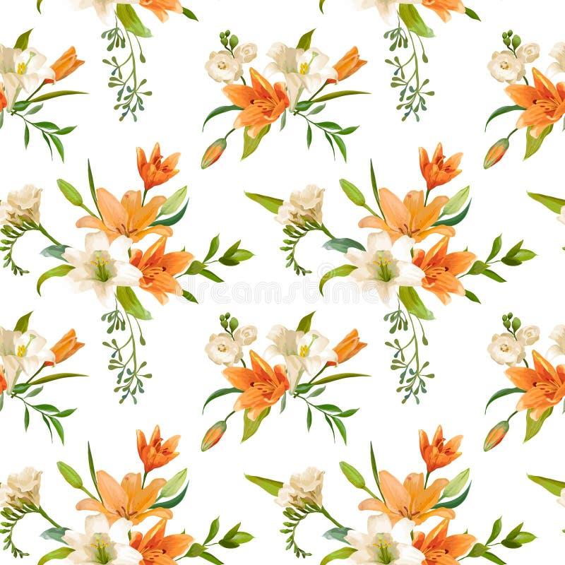 Mola Lily Flowers Backgrounds - teste padrão floral sem emenda ilustração do vetor