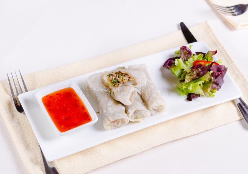 Mola Meaty saudável Rolls com vegetarianos e molho imagem de stock