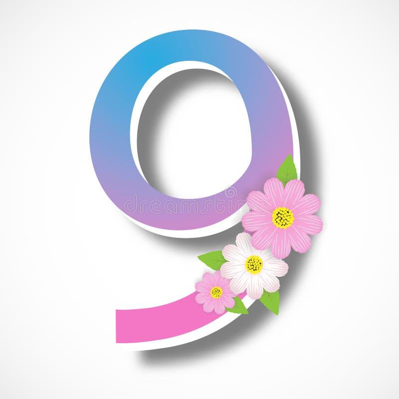Mola número nove com flor colorida, tem da ilustração do vetor ilustração do vetor