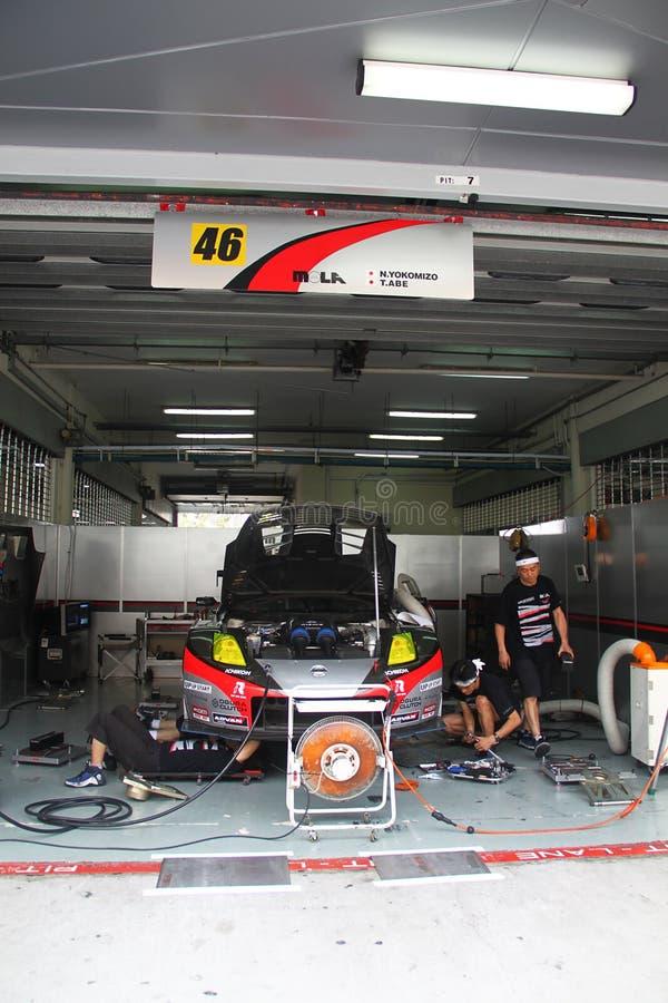 Mola Nissan 46 team garage, SuperGT 2010 stock images