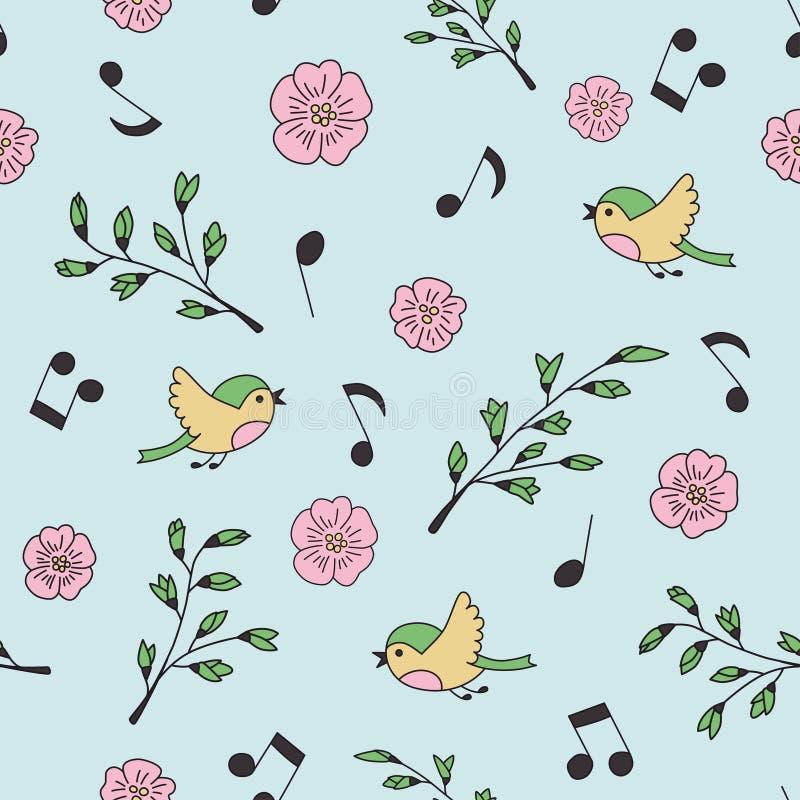 Mola, pássaros e música Garatuja e desenhos animados Teste padrão sem emenda ilustração royalty free