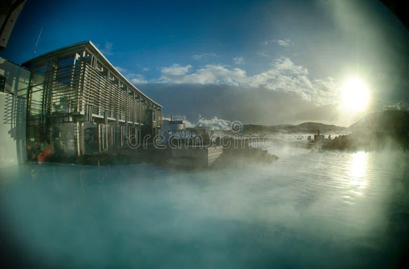 Mola quente da lagoa azul de Islândia imagem de stock