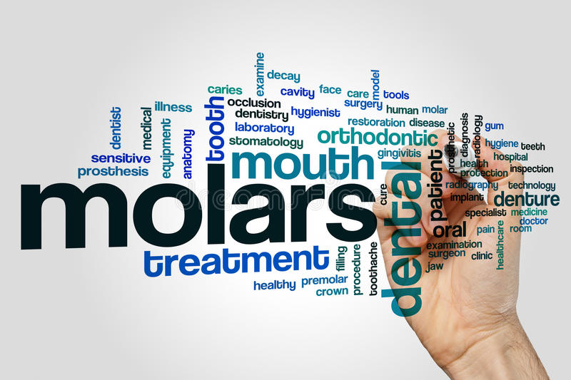 Molars word cloud. Concept on grey background stock photos