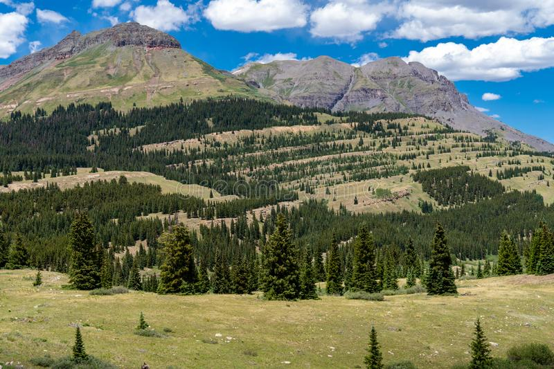 Molas Pass in Colorado along the Million Dollar Highway in the San Juan Mountains on a sunny summer day. Beautiful green mountain royalty free stock images