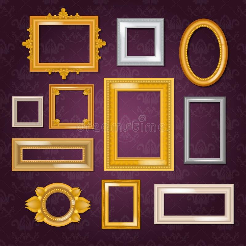 Moldação de imagem da placa do vetor dos quadros no grupo do vintage de estrutura do ouro na ilustração da parede no fundo branco ilustração royalty free