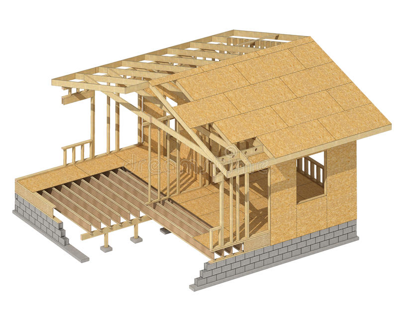 Moldação de madeira da casa nova da construção residencial ilustração stock