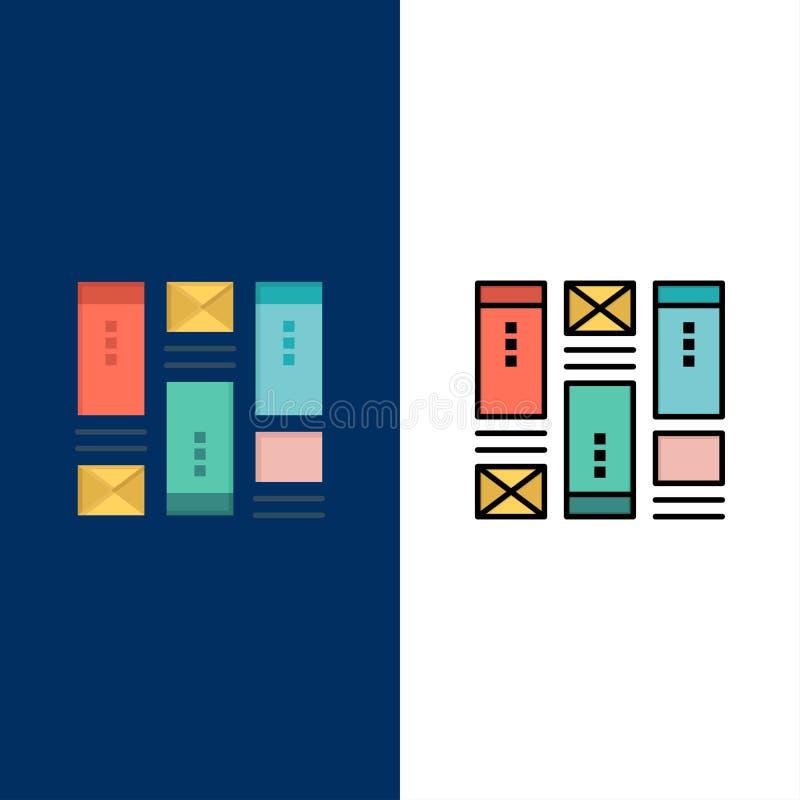 Moldação do fio, esboçando, Wireframe, ícones da ideia O plano e a linha ícone enchido ajustaram o fundo azul do vetor ilustração do vetor