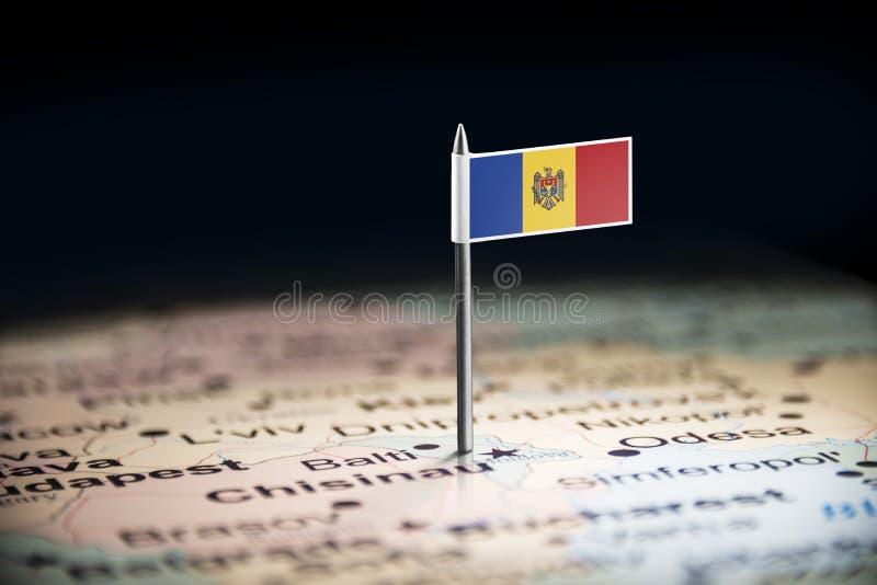 Moldau a identifié par un drapeau sur la carte image libre de droits