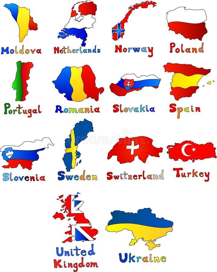 Moldau niederländisches Norwegen Polen Portugal Rumänien lizenzfreie abbildung