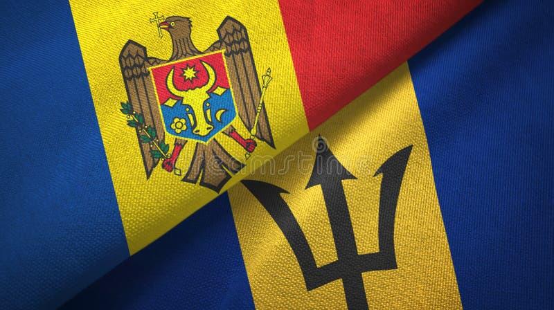 Moldavi? en Barbados twee vlaggen textieldoek, stoffentextuur stock foto