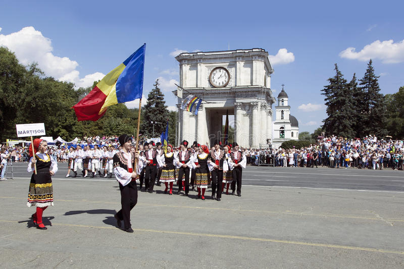 Moldavien Chisinau, självständighetsdagen, nationalförsamlingfyrkant, n arkivfoton