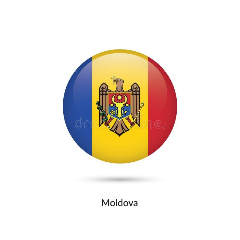 Moldavien flagga - rund glansig knapp royaltyfri illustrationer
